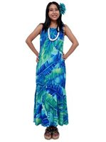 e52dd8ec51b Anuenue Misty Banana Leaf Blue Rayon Hawaiian Dress